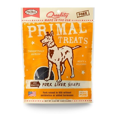 Primal Pork Liver Snaps Dry Roasted Dog Treats