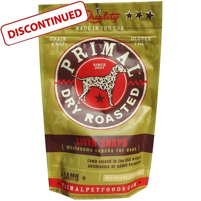Discontinued, Primal Lamb Liver Snaps Dry Roasted Dog Treats
