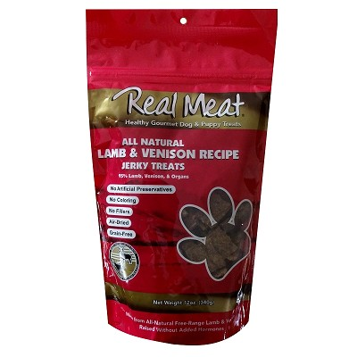Real Meat Lamb & Venison Jerky Dog Treats, 12-oz Bag