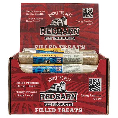 Redbarn Chicken Filled Rolled Rawhide Dog Treats, Case of 24