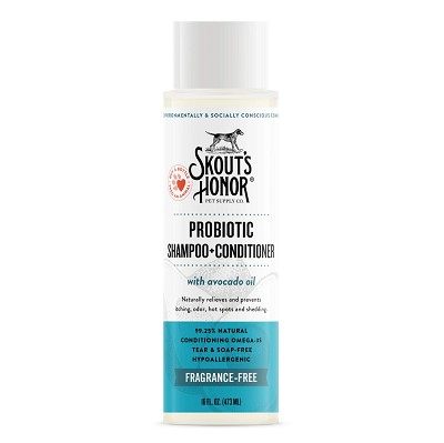 Skout's Honor Probiotic Fragrance-Free Hypoallergenic Shampoo with Conditioner for Dogs & Cats, 16-oz Bottle