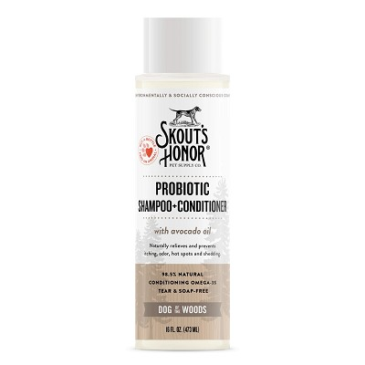 Skout's Honor Probiotic Sandalwood Vanilla Shampoo with Conditioner for Dogs & Cats, 16-oz Bottle