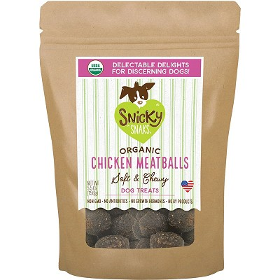 Snicky Snaks Chicken Meatballs Soft & Chewy Organic Dog Treats, 5.5-oz
