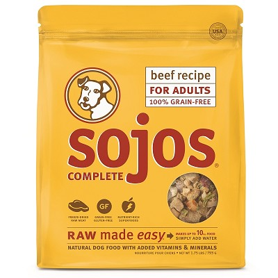 Sojos Complete Beef Recipe Adult Grain-Free Freeze-Dried Raw Dog Food, 1.75-lb Bag
