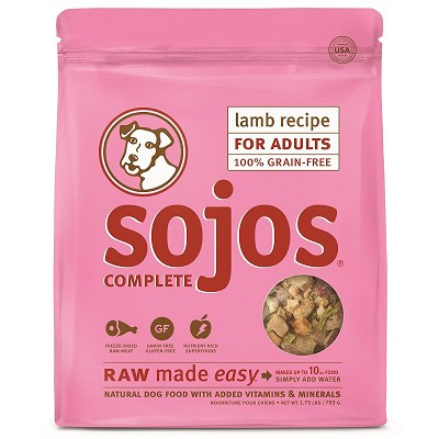 Sojos Complete Lamb Recipe Adult Grain-Free Freeze-Dried Raw Dog Food, 1.75-lb Bag