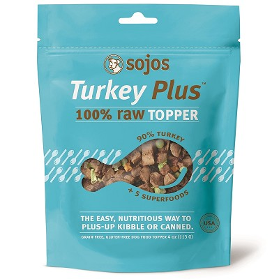 Sojos Turkey Plus 100% Raw Grain-Free Dog Food Topper, 4-oz bag