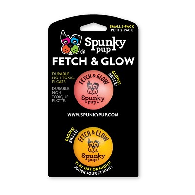 Spunky Pup Fetch & Glow Ball Dog Toy, Small (2 Pack)