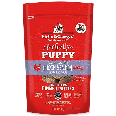 Stella & Chewy's Perfectly Puppy Chicken & Salmon Dinner Patties Freeze-Dried Raw Dog Food, 14-oz Bag
