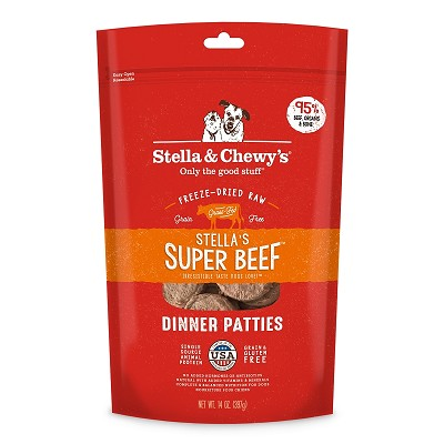 Stella & Chewy's Stella's Super Beef Dinner Patties Freeze-Dried Raw Dog Food, 14-oz Bag