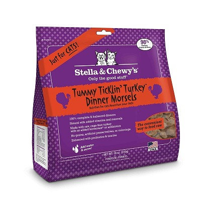 Stella & Chewy's Tummy Ticklin' Turkey Dinner Morsels Freeze-Dried Raw Cat Food, 18-oz Bag