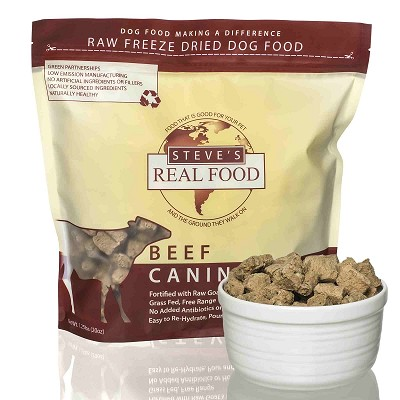 Steve's Real Food Beef Recipe Freeze-Dried Dog & Cat Food, 1.25 lb Bag