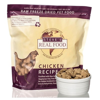 Steve's Freeze Dried Chicken Recipe Dog & Cat Food, 1.25-lb Bag