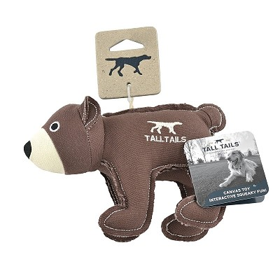 Tall Tails Canvas Bear with Squeaker Dog Toy