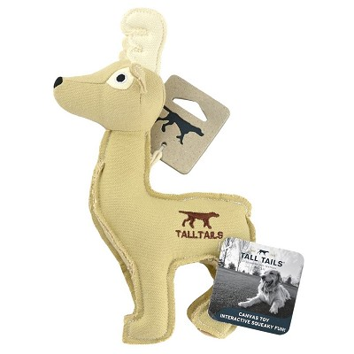 Tall Tails Canvas Deer with Squeaker Plush Dog Toy