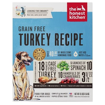 The Honest Kitchen Dehydrated Grain-Free Turkey Recipe (Embark) Dog Food, 10-lb