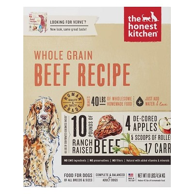 The Honest Kitchen Dehydrated Whole Grain Beef Recipe (Verve) Dog Food, 10-lb Box
