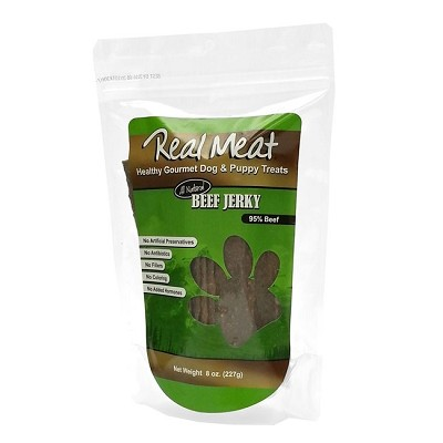 Real Meat Beef Jerky Strips Dog Treats, 8-oz Bag
