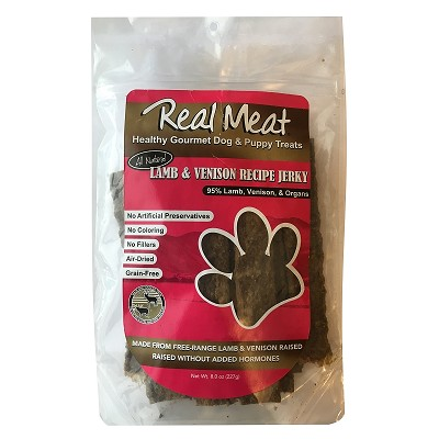 The Real Meat Company Lamb & Venison Jerky Strips Dog Treats, 8-oz Bag