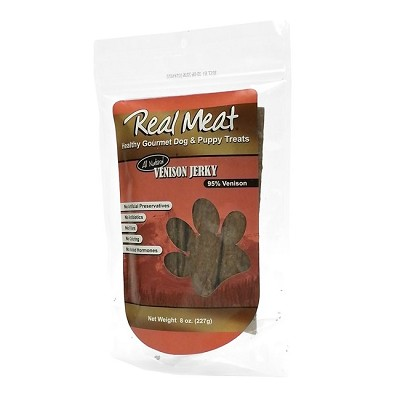 Real Meat Venison Jerky Strips Dog Treats, 8-oz Bag
