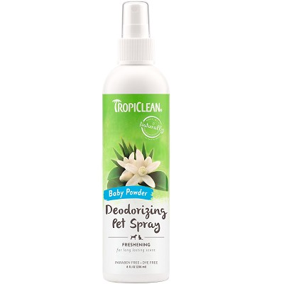TropiClean Baby Powder Deodorizing Spray for Dogs & Cats, 8-oz bottle