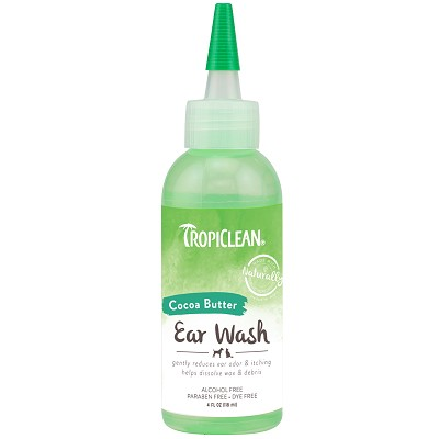 TropiClean Cocoa Butter Ear Wash for Dogs & Cats, 4-oz Bottle