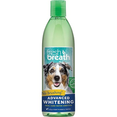 TropiClean Fresh Breath Advanced Whitening Oral Care Water Additive for Dogs, 16-oz