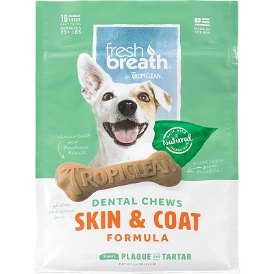 TropiClean Fresh Breath Dental Chews Skin & Coat Formula Dog Chews, Regular