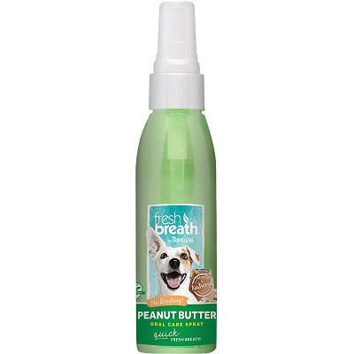 TropiClean Fresh Breath Peanut Butter Oral Care Spray for Dogs, 4-oz