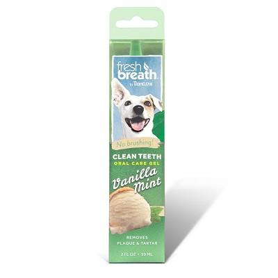 TropiClean Fresh Breath Vanilla Mint Clean Teeth Oral Care Gel for Dogs, 2-oz