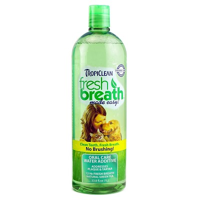 TropiClean Fresh Breath Water Additive for Dogs, 33.8 oz