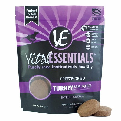 Vital Essentials Turkey Mini Patties Freeze-Dried Dog Food, 1-lb bag