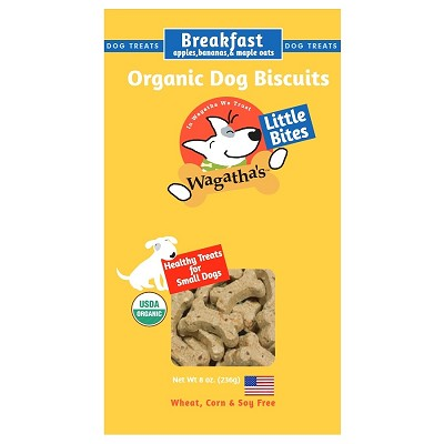 Wagatha's Breakfast Recipe Little Bites Organic Dog Biscuits, 8-oz Box