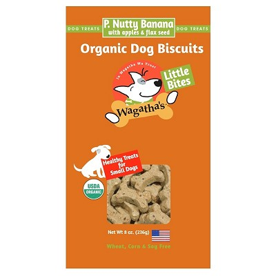 Wagathas P. Nutty Banana Recipe Little Bites Organic Dog Biscuits, 8-oz Box