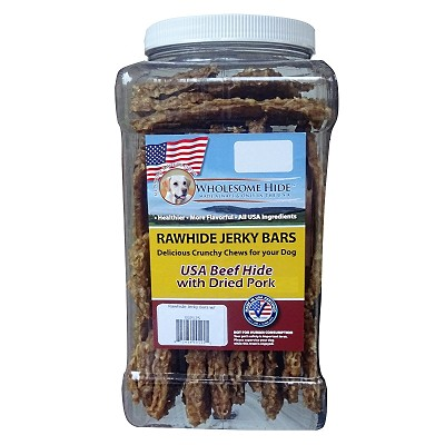 Wholesome Hide USA Rawhide Jerky Bars with Dried Pork Dog Chews, 2-lb