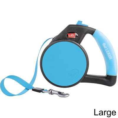 Wigzi Retractable Gel Leash for Dogs, Blue, Large
