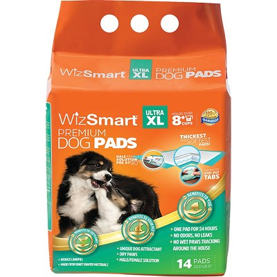WizSmart Ultra XL Premium Dog and Puppy Pee Training Pads 8+ Cup, 14-Count