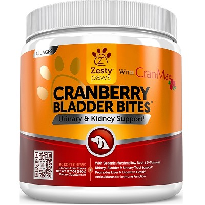 Zesty Paws Cranberry Bladder Bites Urinary Tract Support Chews for Dogs, 90 count
