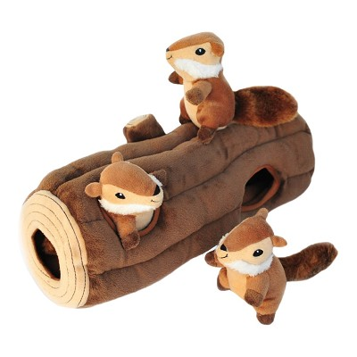 ZippyPaws Burrow Hide and Seek Log with 3 Chipmunks Squeaky Plush Dog Toy