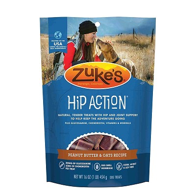 Zuke's Hip Action Peanut Butter & Oats Recipe Dog Treats, 1 lb