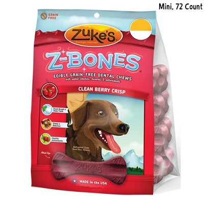 Zuke's Z-Bones Mini Clean Berry Crisp Dental Dog Treats, 72-Count