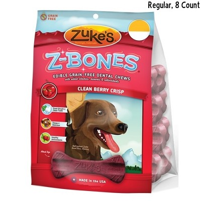 Zuke's Z-Bones Regular Clean Berry Crisp Dental Dog Treats, 8-Count