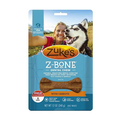 Zuke's Z-Bone Dental Chew with Carrots Dog Treats, Regular, 8-Count